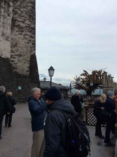 Waiting to enter the Panorama Restaurant in the castle for lunch, 10-24-14