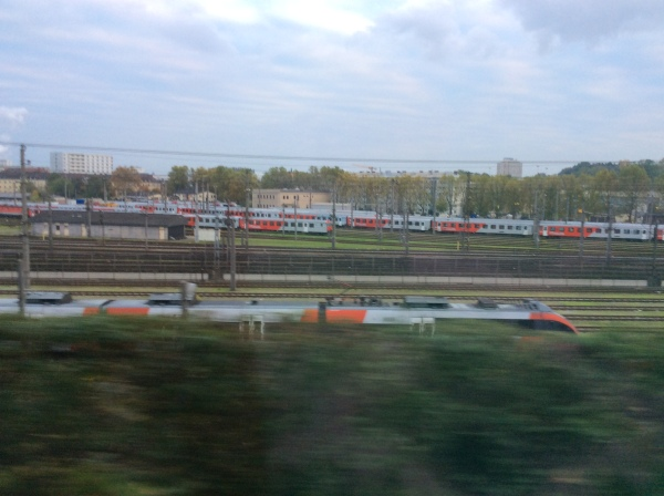 Nearing Linz, we could see all the fast passenger trains, 10-24-14