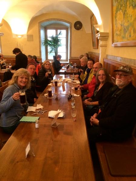 Enjoying our beer & pretzels: Dallas, Bill, Susan, Jan, Dan, Susie, & Ross, 10-23-14