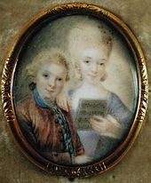 Wolfgang and his sister, Maria Anna Mozart, (photo from Wikipedia of painting by Eusebius Johann Alphen, c. 1763)