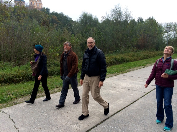 Lois, Fox, Bill G., & Dallas walking toward the ship (I'm looking at birds flying overhead) (10-25-14)
