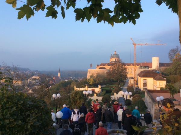 Looking toward the Abbey after taking the bus up the hill (10-25-14)