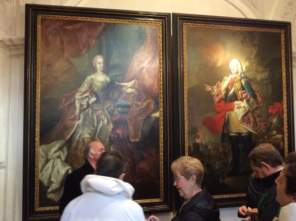 At the top of the stairs hang paintings of Maria Theresa (the only woman ruler of the Habsburg Empire) & her husband, Francis I (10-25-14)
