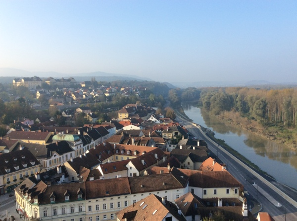 View of the city of Melk from the Abbey balcony (10-25-14)