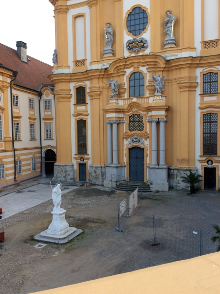 Looking down to the Abbey Church courtyard, where excavation was currently going on to find an even older church that had been built previous to this one (10-25-14)