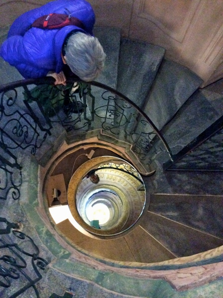 View looking down the spiral staircase in the Abbey (10-25-14)