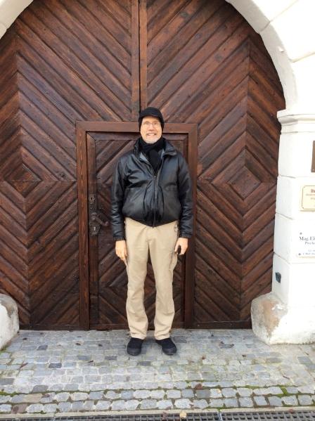 Bill G. posing in front of an interesting door in Melk (10-25-14)