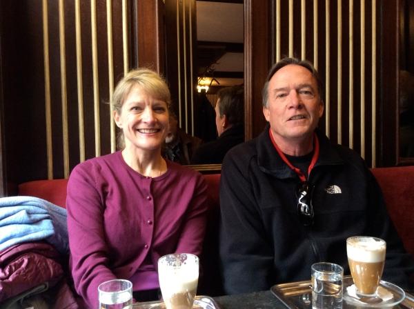 Dallas & Bill drinking good coffee in Melk (10-25-14)