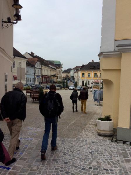 Bill G. & Bill walking in Melk (10-25-14)