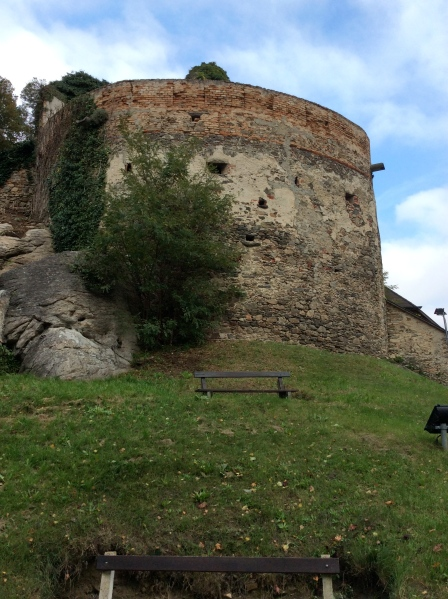 An interesting, high fortress wall surrounds the town (10-25-14)