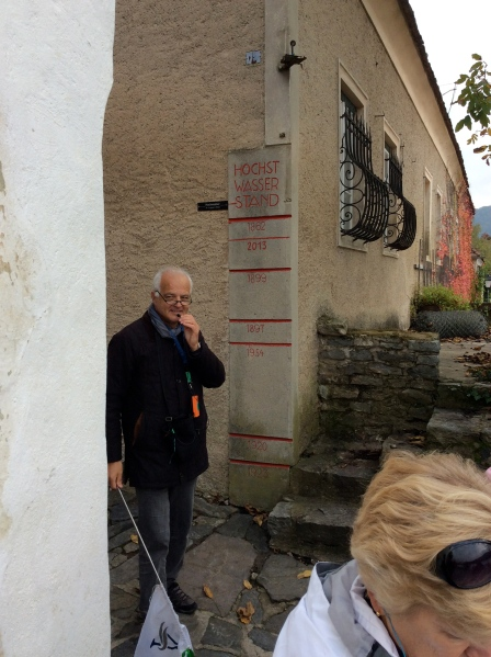 The guide pointed out some high floodwater marks on a wall (10-25-14)