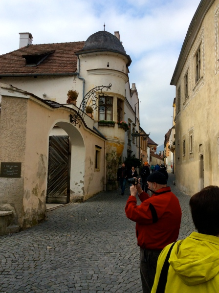 Dan and Jan taking photos along Dürnstein's main street (10-25-14)