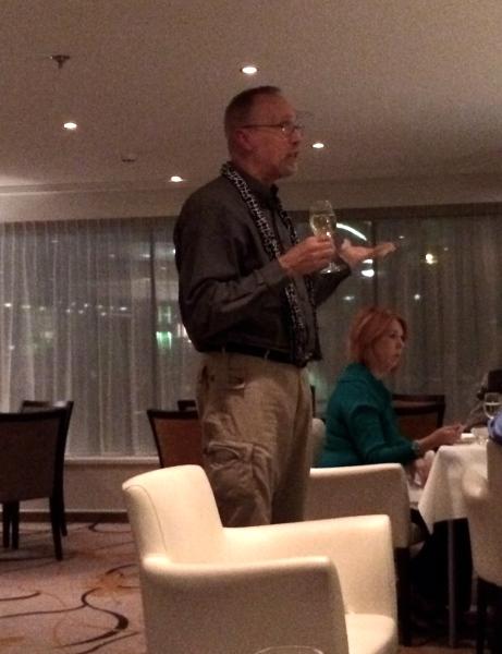 Bill G. making a toast to Ann (10-26-14)