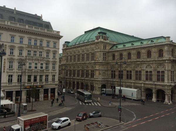 The famous Hotel Sacher on the left, where Bill G. went later and enjoyed a big piece of Sachertorte! (10-26-14)