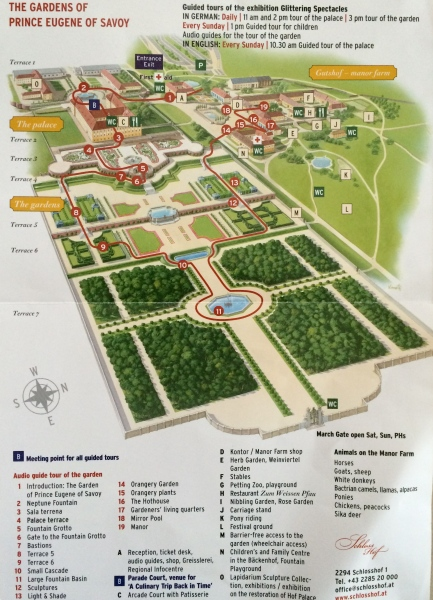 Here's a map of the Schloss Hof Palace and grounds, (10-27-14)