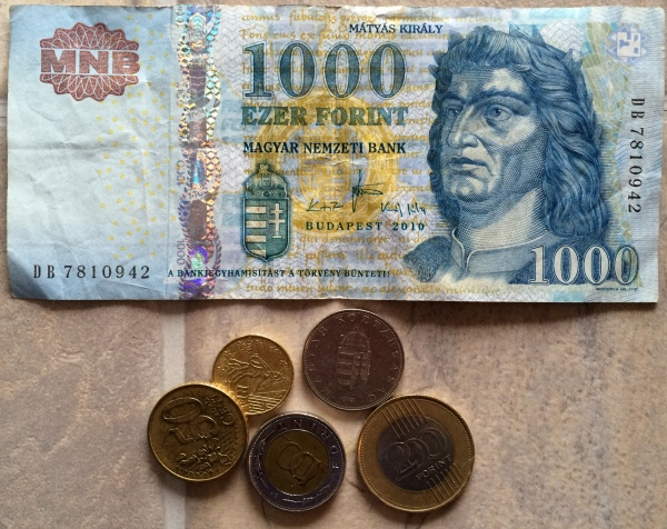 Hungarian Forints that we brought home from our trip (photo 02-19-15)