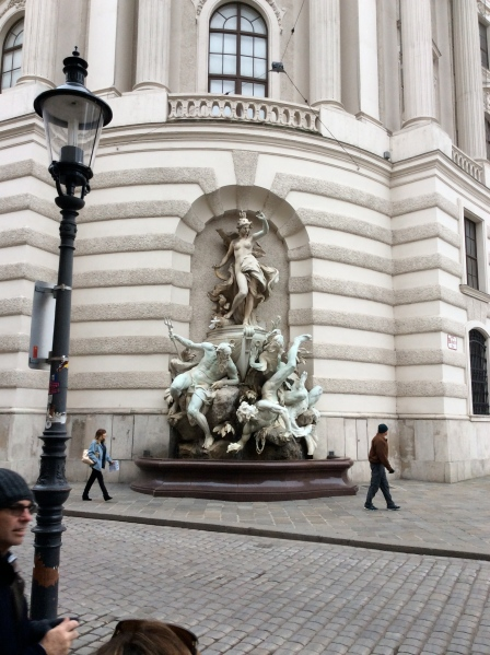 An interesting sculpture on the side of one wing of the Hofburg Palace (10-26-14)