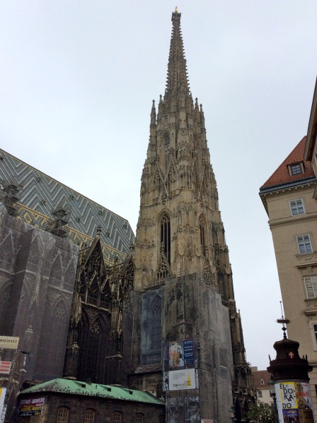 The Gothic church tower stands 450 feet high & was finished in 1433, (10-26-14)