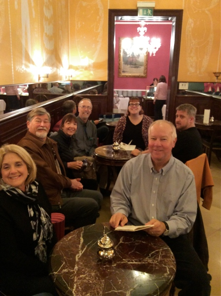 From left: Susan, Fox, Lois, Bill G., Sam, Tom, & Dom in Café Demel, waiting for their coffee & cakes (10-26-14)