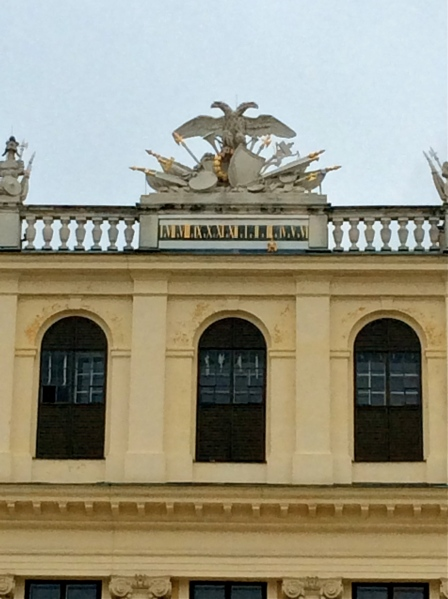 A closeup of the double-headed eagle symbol of the Holy Roman Empire at the top of the back of the Palace, (10-26-14)