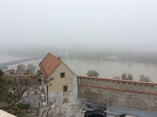 The view of the Danube and the Most SNP Bridge below (10-27-14)