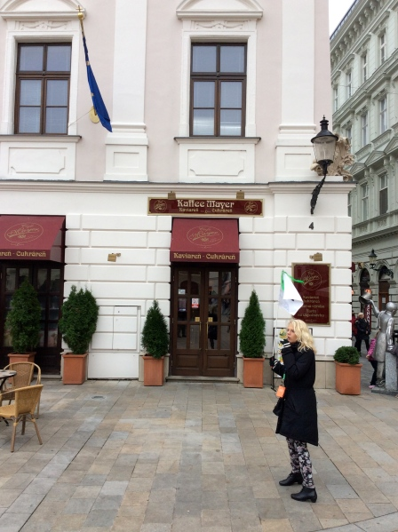 Our guide was telling us about Kaffee Mayer, a famous coffee house in Bratislava, (10-27-14)