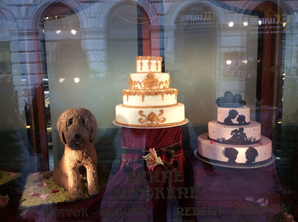 Cakes in the side window of Kaffee Mayer, (10-27-14)