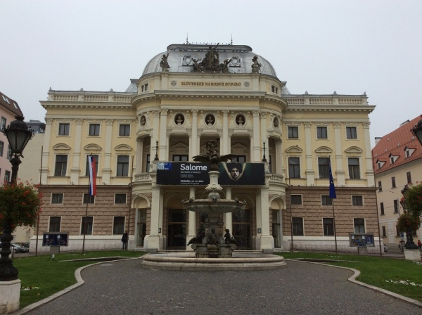Next, we walked over to the old Slovak National Theatre building at Hviezdoslav Square, (10-27-14)