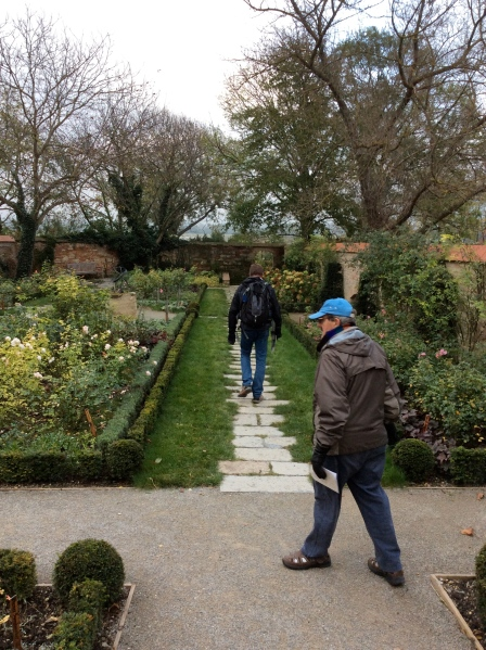 Bill (center) walking through the Rose Garden, (10-27-14)