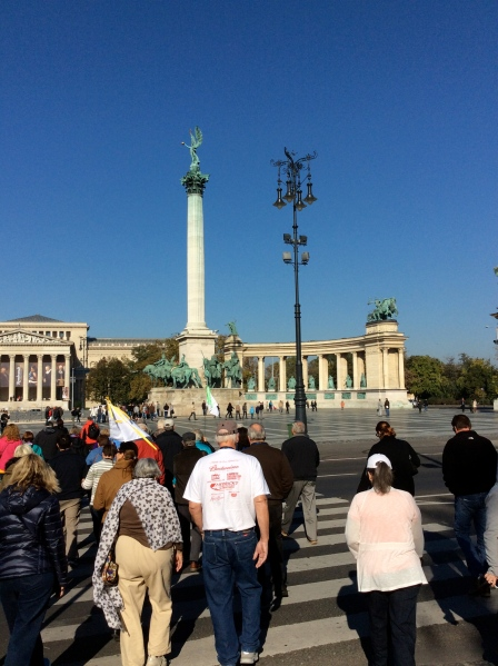 Approaching Heroes Square, Ross, center, & Susie (both in white) (10-28-14)
