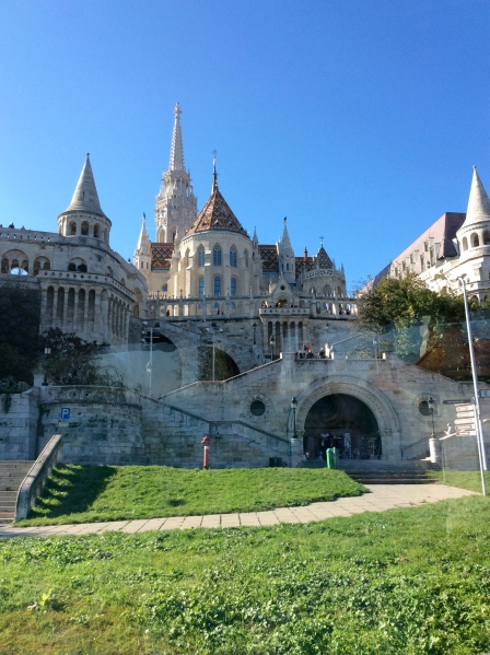 Looking up at the Castle Hill district, where we could see part of Fishermen's Bastion and the Matthias Church (10-28-14)