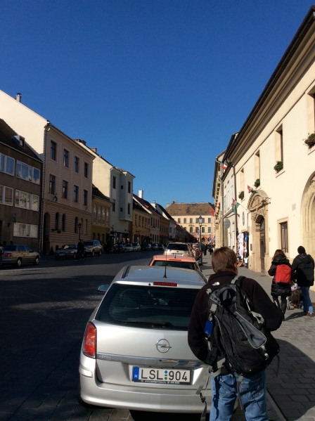 Bill, walking on one of the main streets in the Buda Castle Hill district (10-28-14)