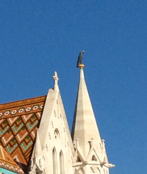 The raven atop its spire on the Matthias Church (10-28-14)