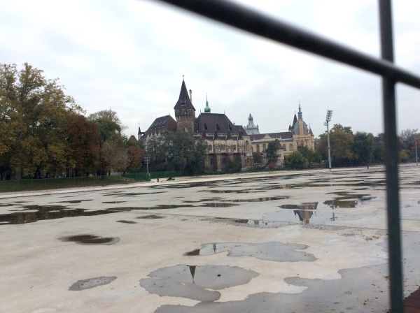 We could see the Vajdahunyad Castle across the rink. (10-30-14)