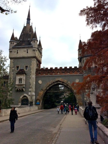 Bill walking up to the Castle gates (10-30-14)