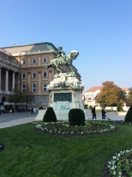 The equestrian statue of Prince Eugene of Savoy standing on the Danube terrace (10-31-14)