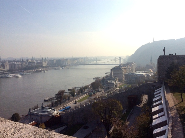 In this view you can see the Liberty Statue atop Gellért Hill on the right (10-31-14)