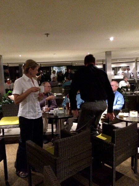 After dinner, our group all went back up to the small lounge for a nightcap and more toasts to Ann.  (10-27-14)
