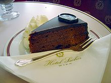 A piece of Vienna's famous Sachertorte from the Hotel Sacher (photo from Wikipedia)